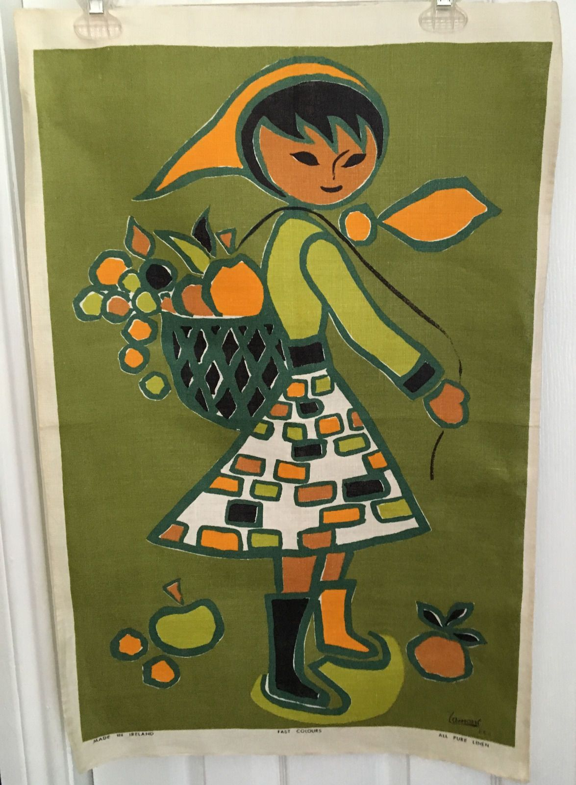 Vintage Tea Towel Lamont Irish Linen Fab Colors Girl with