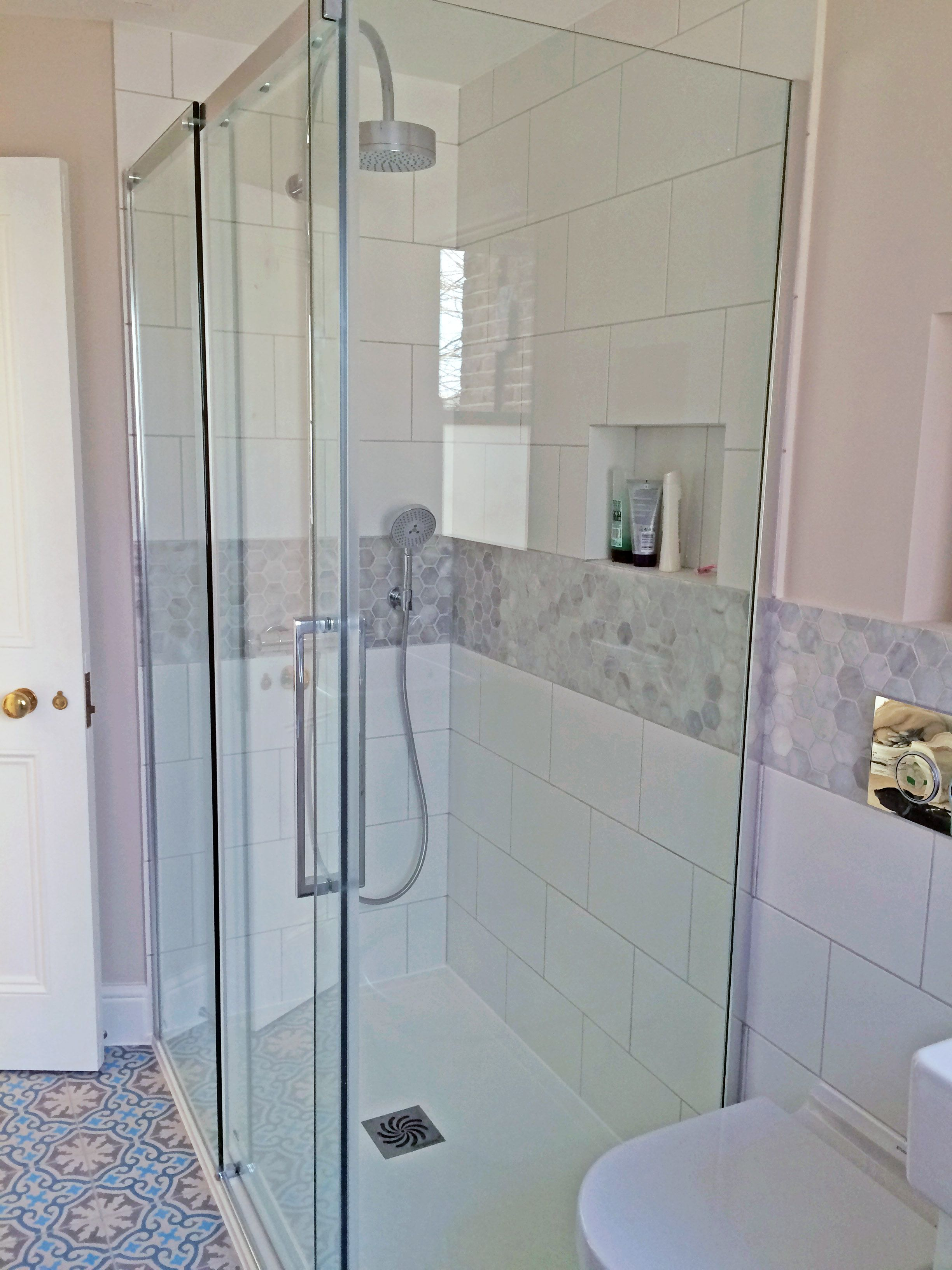 APM. The shower space- finished. With recessed shelf for shower ...