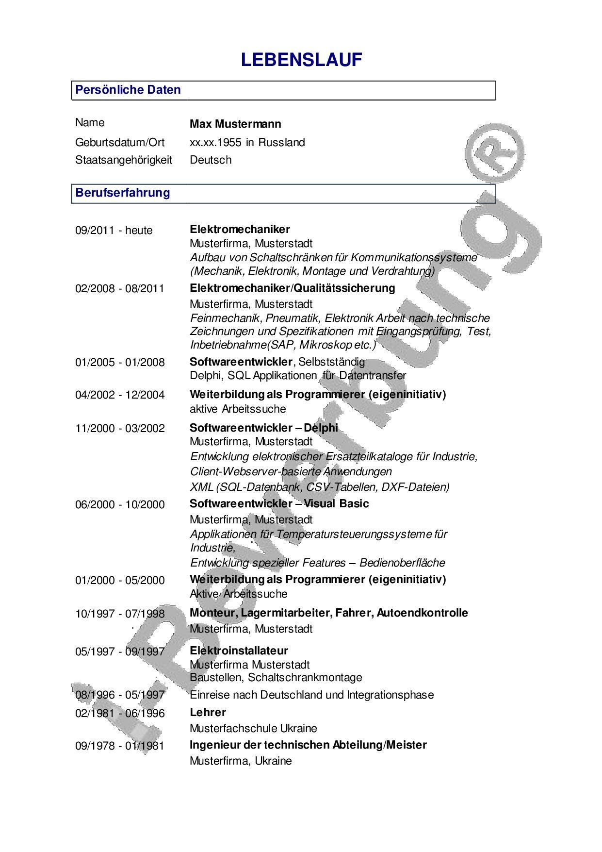 Erfreut Lebenslauf Cv Aussprache Zeitgenössisch - Entry Level Resume ...