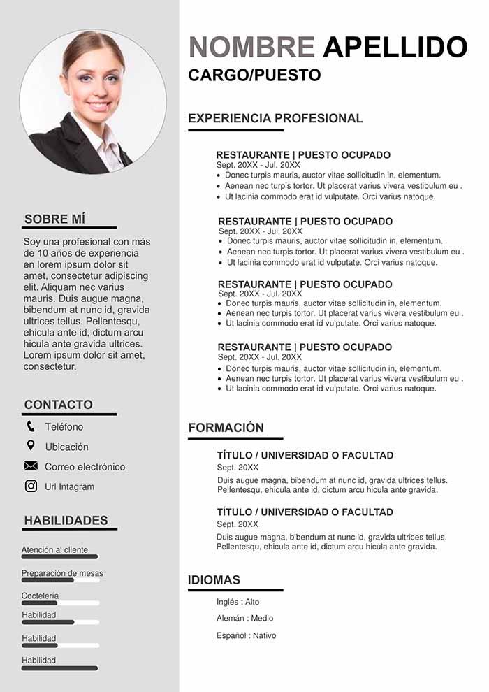 Ejemplo de Currículum Empresarial Gratis en Word