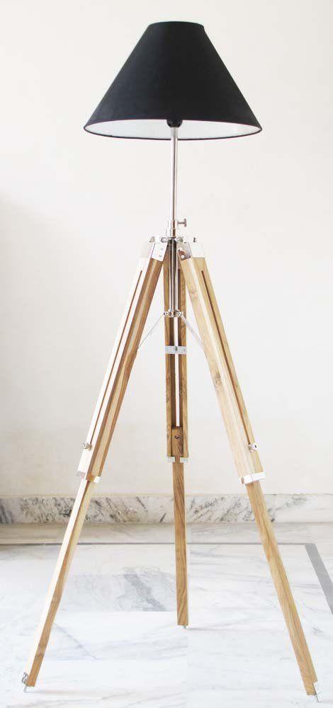 Vintage Wooden Lamp Stand Shade Floor Tripod Adjustable Teak Tripod ...