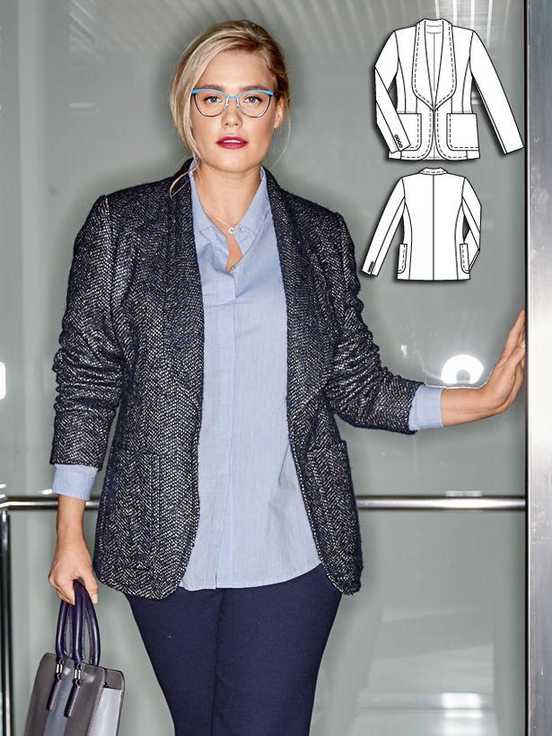 Jersey Blazer (Plus Size) 08/2016 #134 | Pinterest | Jacke nähen ...