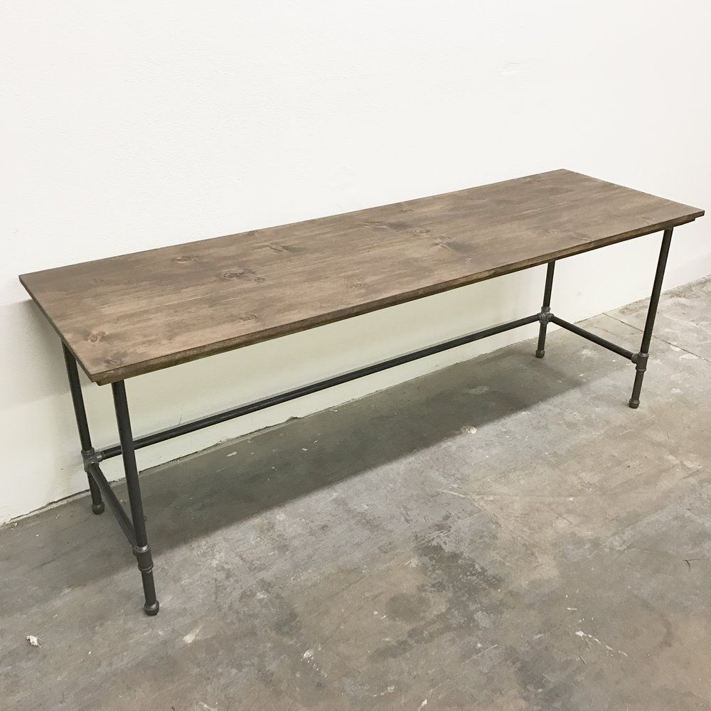 handcrafted desk steel pipe with iron fittings and solid wood rh pinterest com