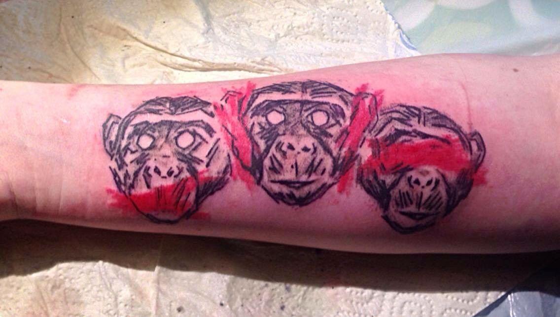 471e338bd 3 wise monkeys trash polka design tattoo by michaela ink | Tattoos ...