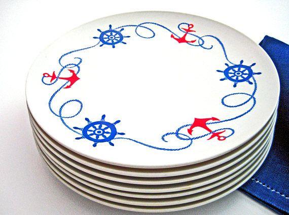 7 Vintage Melamine Dinner Plates BoontonWare Nautical  sc 1 st  Pinterest & 7 Vintage Melamine Dinner Plates BoontonWare Nautical Pattern Red ...
