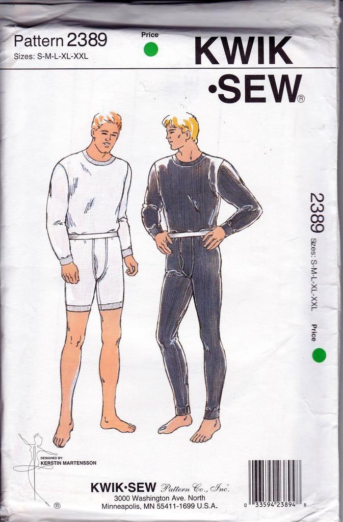 Kwik Sew 2389 Mens Short & Long Underwear 90s Vintage Sewing Pattern ...