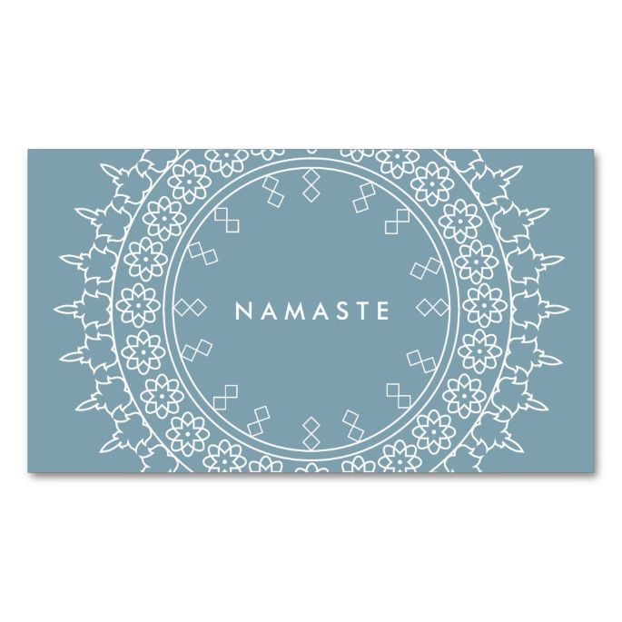 Elegant Mandala Namaste Yoga Blue Business Card. This is a fully customizable business card and available on several paper types for your needs. You can upload your own image or use the image as is. Just click this template to get started!