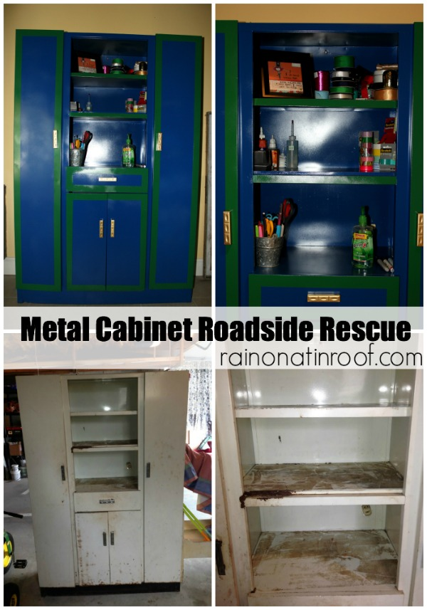 Metal Cabinet Makeover Roadside Rescue is part of Metal cabinet Posts - Disclosure This post is sponsored by RustOleum, but y'all know how I roll, all opinions are 100% mine  This post contains affiliate links  I'm sure you