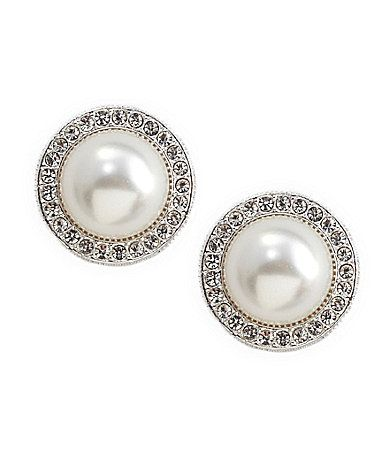 Nadri Pearl Pave Frame 8mm Stud Earrings Relgios e acessrios