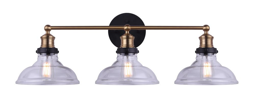 La Serie De Luminaires De Salle De Bain Lora De Home Decorators Collection Est Dotee D Une Fini Noir Mat Et Audacieuse Vintage Bulbs Clear Glass Glass Shades