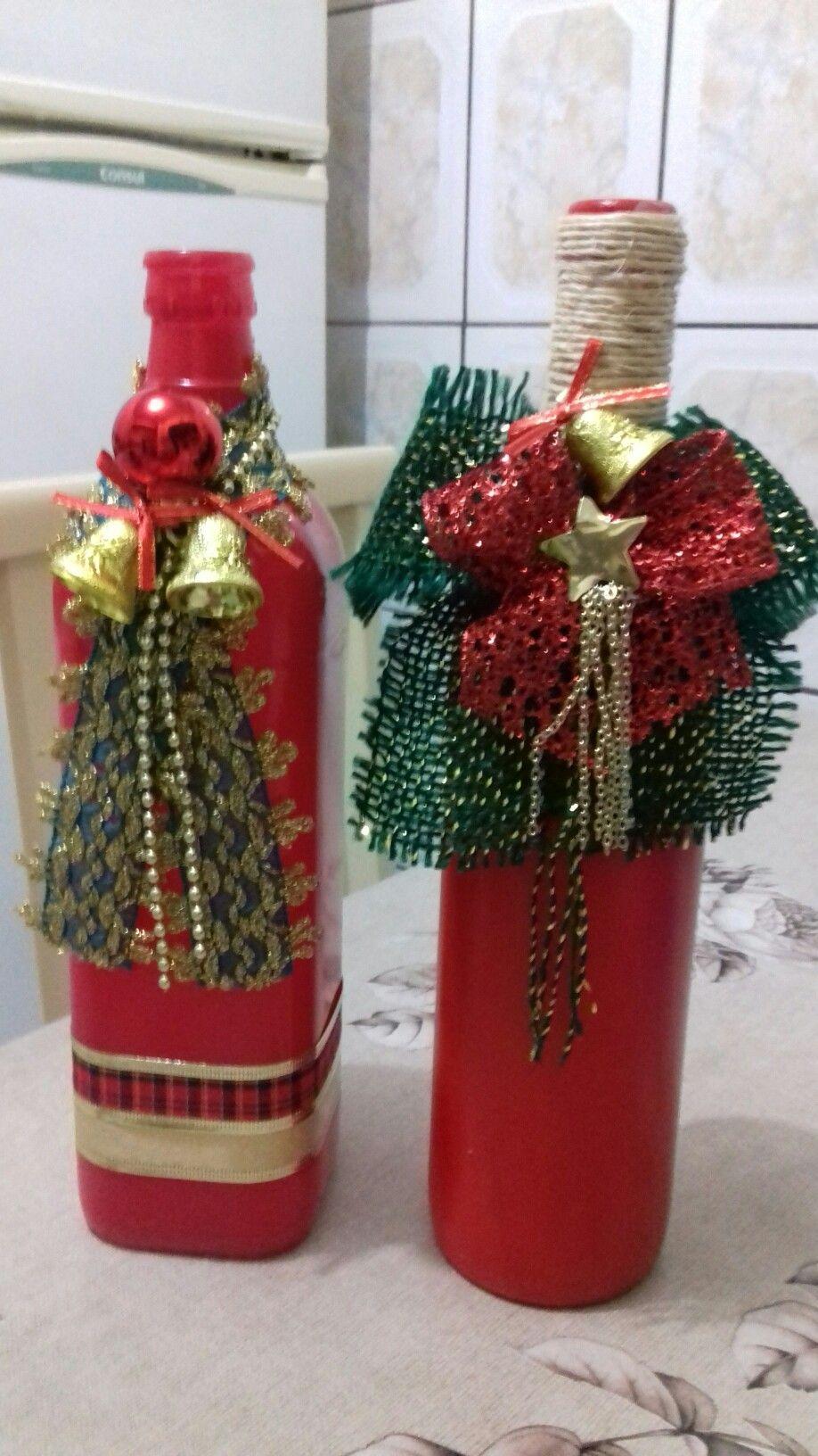 Pin by beth spicer on wine bottle crafts pinterest botellas botellas decoradas and navidad - Botellas decoradas navidenas ...