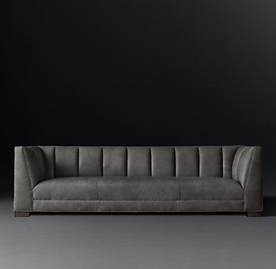 Rh Modern S Paxton Leather Sofa Vertical Channel Stitching Adds Visual And Tactile Depth To Our Collection 39 S Rich Upholstery Leather Sofa Sofa Sofa Design