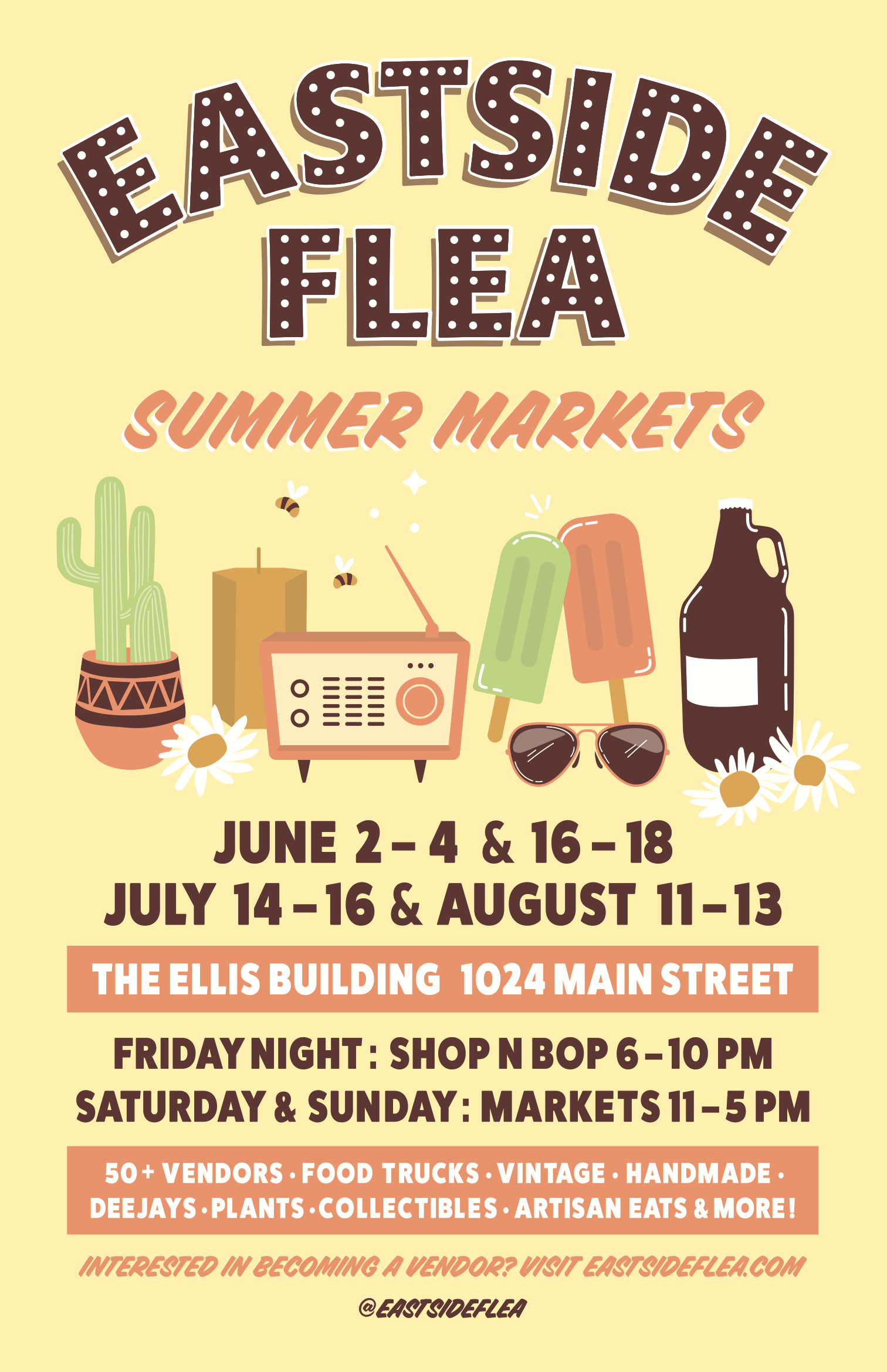 #Poster #Design for the Eastside Flea Summer Markets. #Vintage inspired with bright inviting colour and illustrative elements.