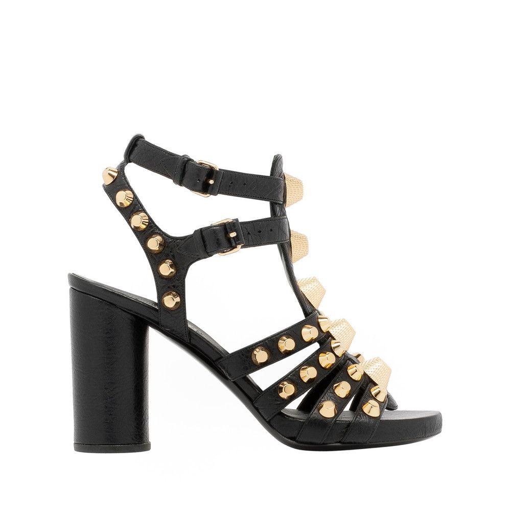 Giant Gold Sandals | Black leather sandals, Balenciaga