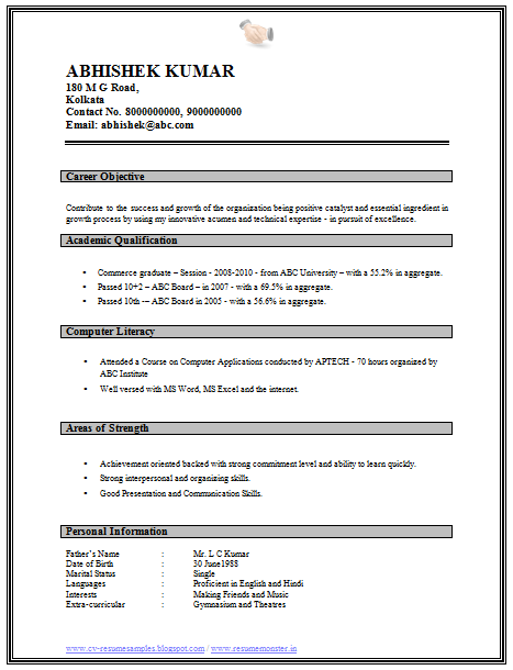 Professional Curriculum Vitae Resume Template For All Job Seekers Sample Template Of A Resume Format Download Free Resume Format Resume Format For Freshers
