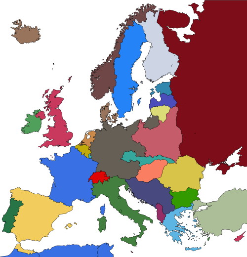 hearts of iron 4 europe map Map of 1938 Europe with the colours of Hearts Of Iron 4. | Map