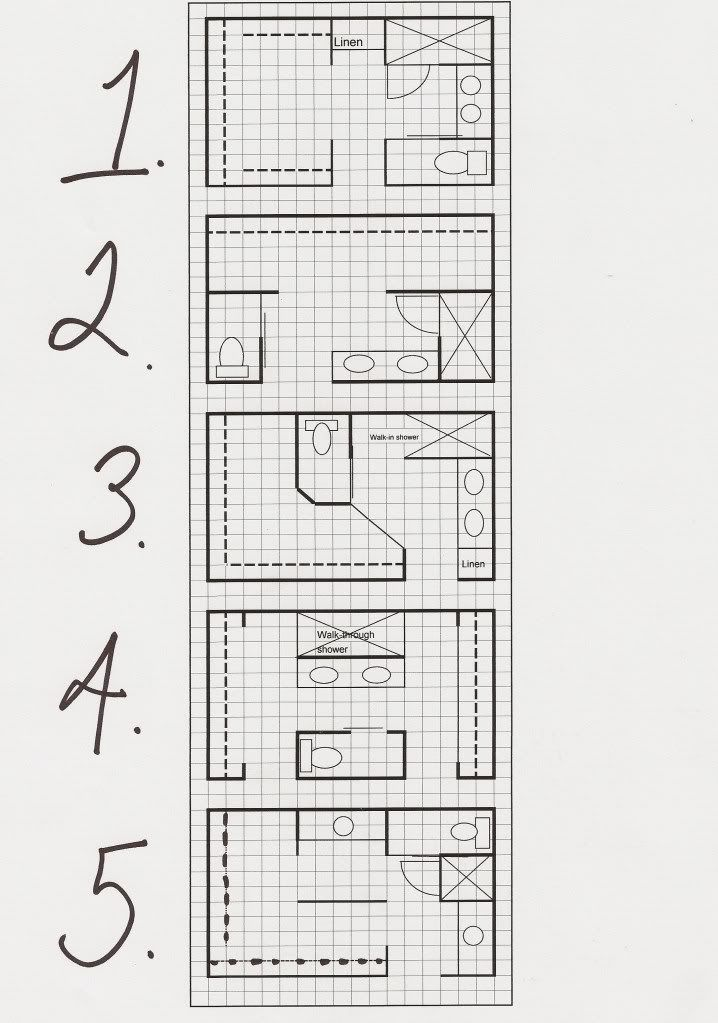 Master bath layout options thinking outside the box h for Bathroom with walk in closet floor plan