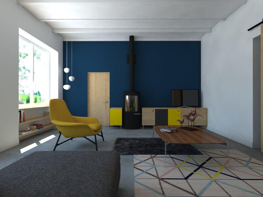 Salon Du Poele A Granule decoration vintage bleu et jaune. meuble sur mesure poêle a