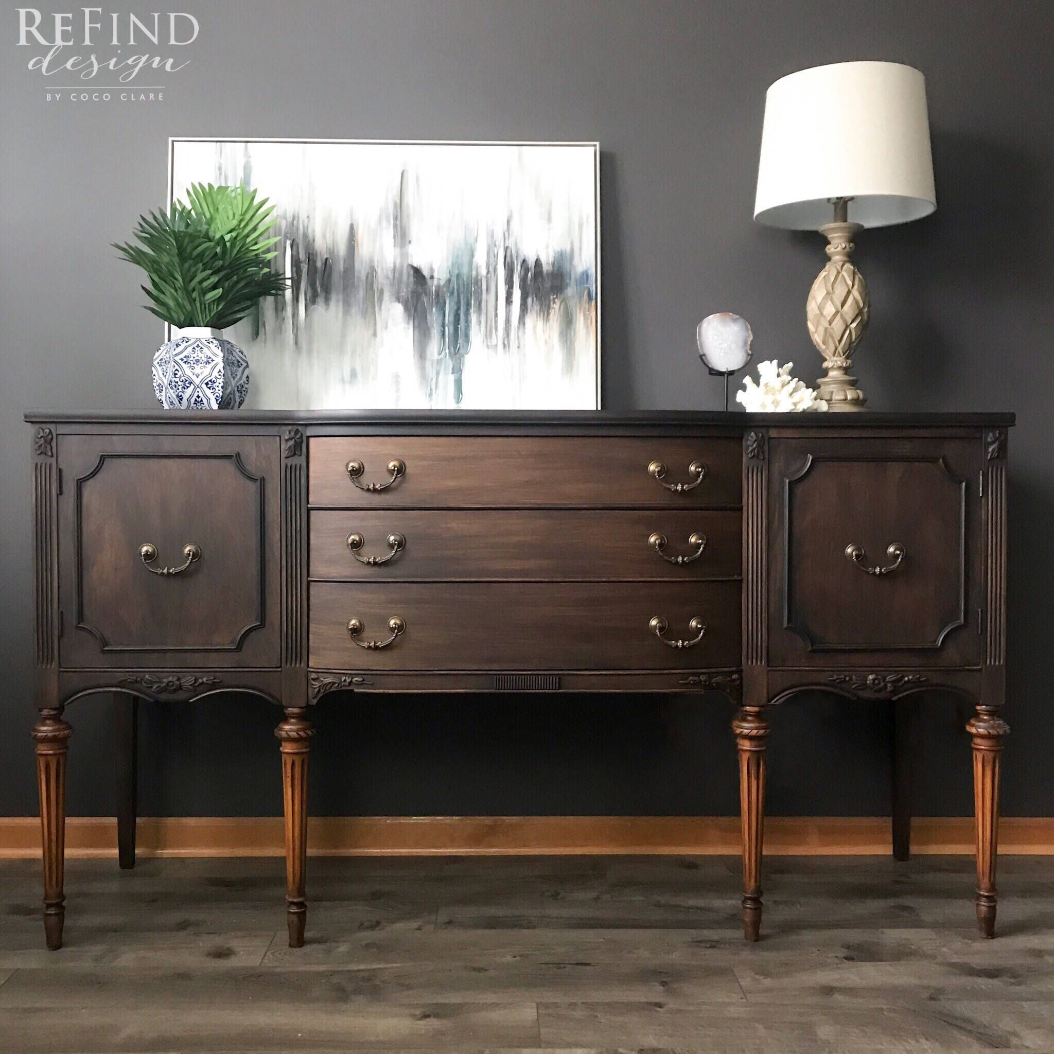 Sold Vintage Traditional Buffet Black Modern Sideboard Dining