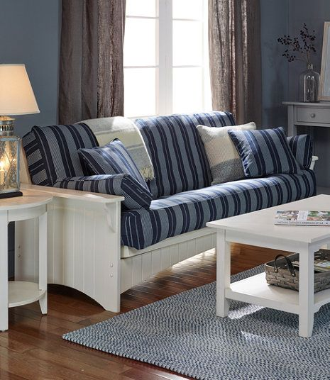 Painted Cottage Futon From Ll Bean Similar White Wood Sofas Loveseats Available At Thisendup Com With Turquoise Fabric