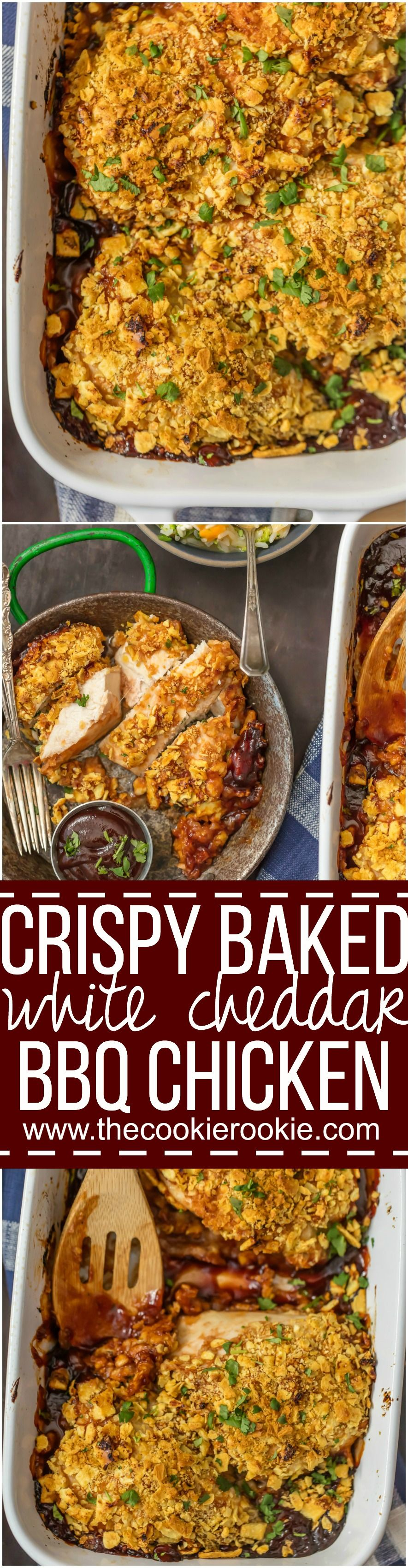 This CRISPY BAKED WHITE CHEDDAR BBQ CHICKEN only has 3 ingredients and so much flavor! So simple to make and sure to please the entire family. This is our go-to easy dinner recipe!
