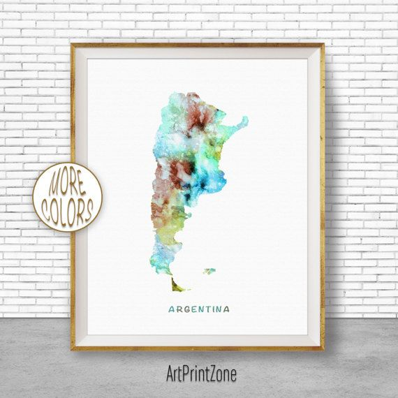 Argentina Map Print Argentina Print Office Art Print Watercolor - Argentina map to print