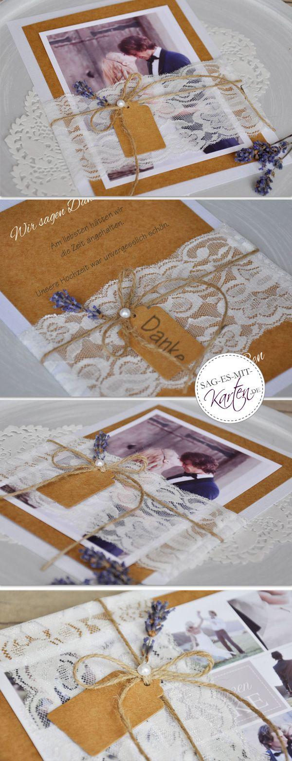 Dankeskarte hochzeit vintage auf rustikalem kraftpapier mit schönstem hochzeitsfoto und diy spitze