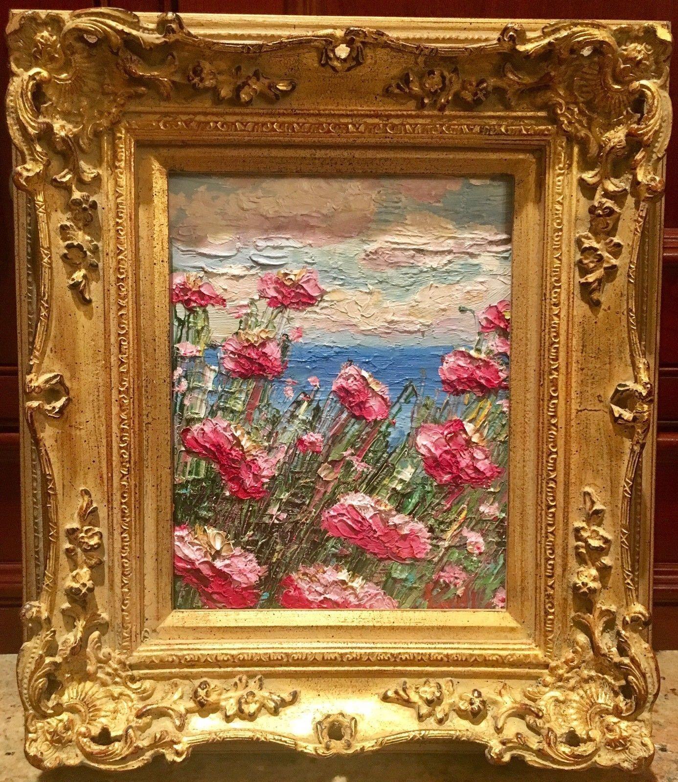 Abstract pink poppies seascape impasto 8x10 carved french frame abstract pink poppies seascape impasto 8x10 carved french frame original oil painting by artist sarah kadlic jeuxipadfo Image collections