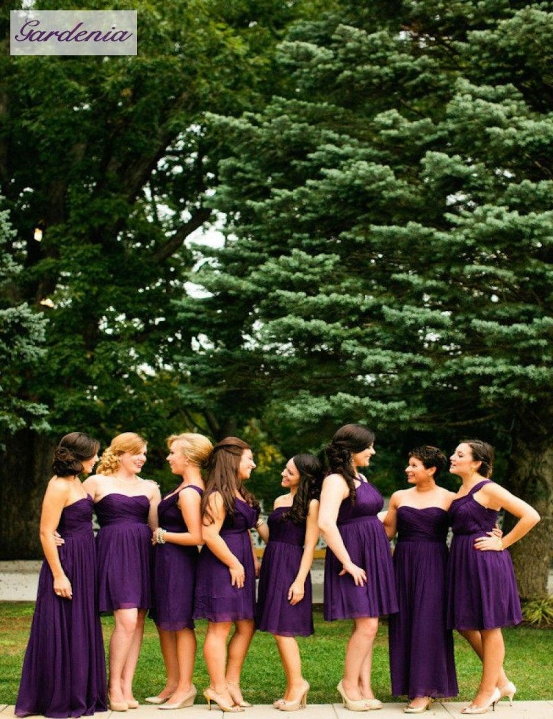 Hot sale knee length purple bridesmaid dresses sweetheart chiffon