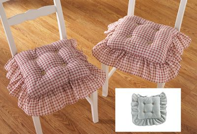 Country Plaid Check Ruffled Kitchen Chair Cushion Set
