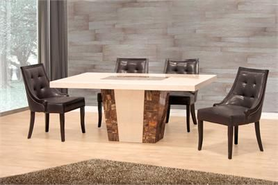 Bergamo Marble Dining Table With Chairs Contemporary Dining Room Sets Dining Table Marble Dining Table
