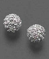 Monet Pave Crystal Ball Earrings