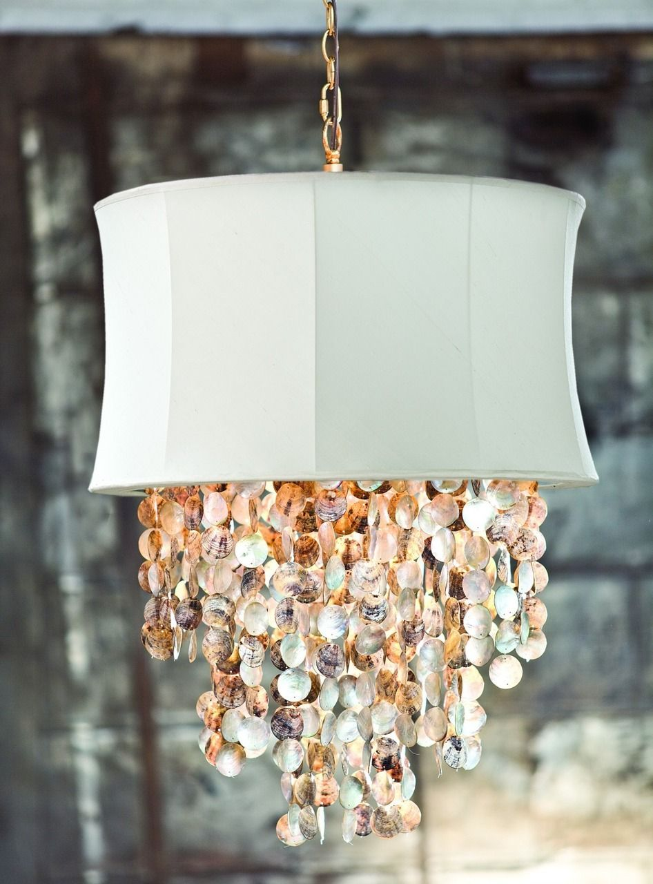 Ivory Bell Chandelier With Abalone Shell Accents Beach