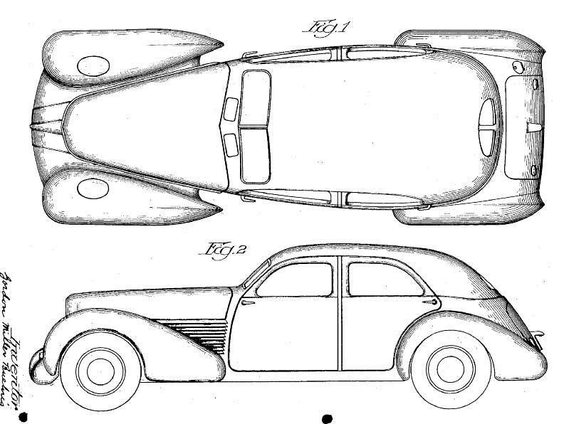 designer Gordon M. Buehrig's Cord 810 patent drawings