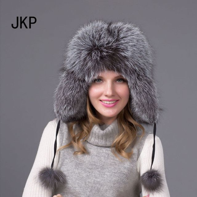 f0cc2f169bb Real Silver fox fur hat men and women ski cap thickened great warm ...