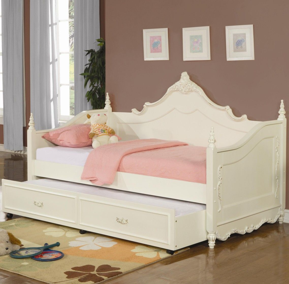Girls White Daybed with Trundle Bed