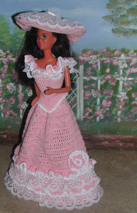 Crochet Fashion Doll Barbie Pattern- #381 PROMENADE IN PINK | robes ...