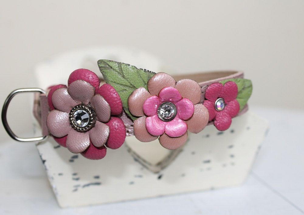 Rose Garden , Pearl Pink  Genuine Leather Dog Collar , Swarovski crystals. $45.00, via Etsy.