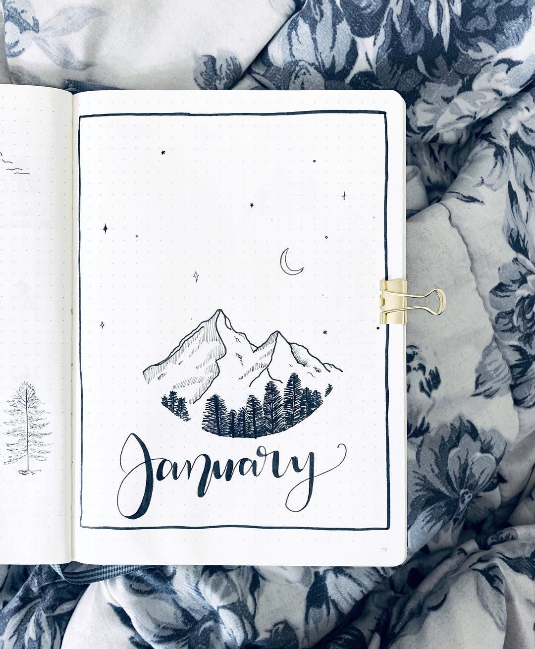 15 Lovely January Cover Ideas For Your Bullet Journal - Craftsonfire - These Jan...
