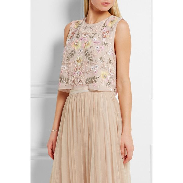 Needle & Thread Cropped embellished chiffon top ($182) ❤ liked on Polyvore featuring tops, cut-out crop tops, summer crop tops, embellished tops, chiffon crop top and beaded crop tops