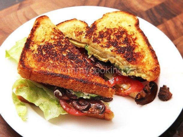 Vegan �B.L.A.T.�s: Lettuce, Tomato, Avocado, and Crispy Smoked Mushroom Sandwiches