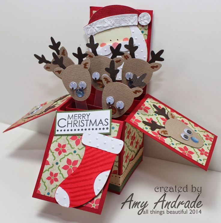 Pop Up Box With Reindeers Boxed Christmas Cards Scrapbook Christmas Cards Exploding Box Card