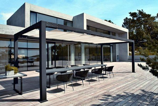 pergola aus metall 40 inspirierende beispiele und ideen pergola metall sonnenschutz. Black Bedroom Furniture Sets. Home Design Ideas