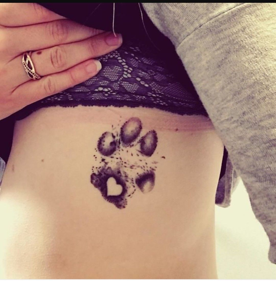 Paw Tattoo With Heart Tattoo Hond Tatoeages Tatoeage