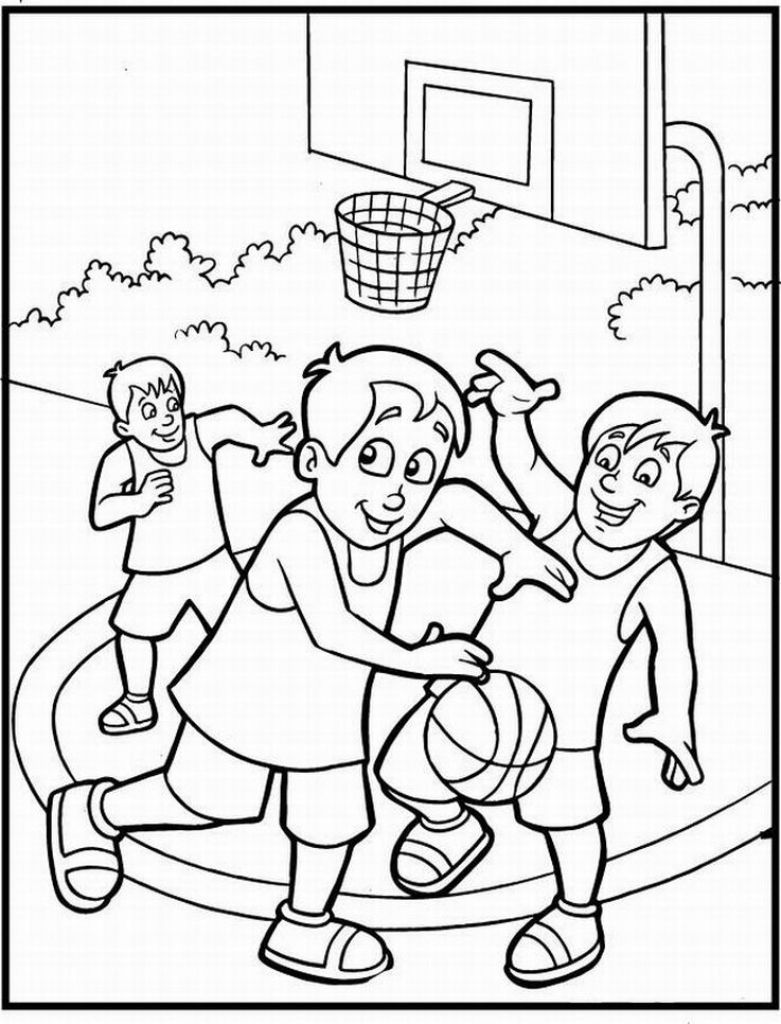 Free printable coloring sheet of basketball sport for kids for Free basketball coloring pages
