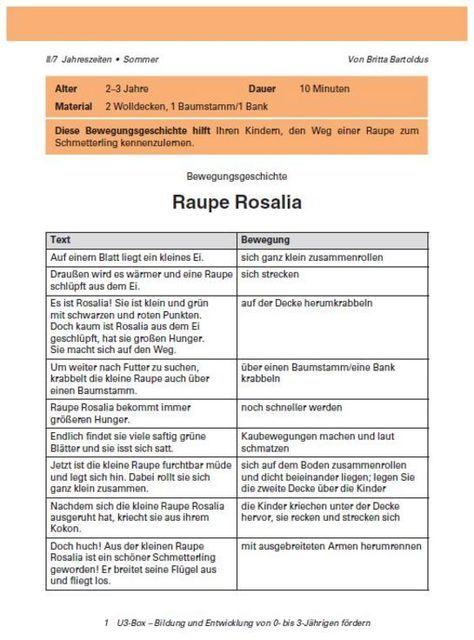 Bewegungsgeschichte: Raupe Rosalia | Kindergarten portfolio