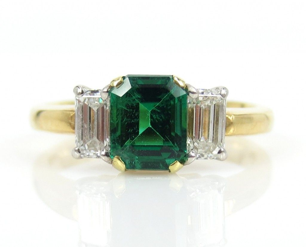 Colombian Emerald Diamond Platinum & 18k Yellow Gold Ring by Zina Fine Jewelry  #engagement ring, #vintage weddings, #emerald wedding ring