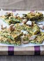 Grilled polenta with spinach and roasted garlic