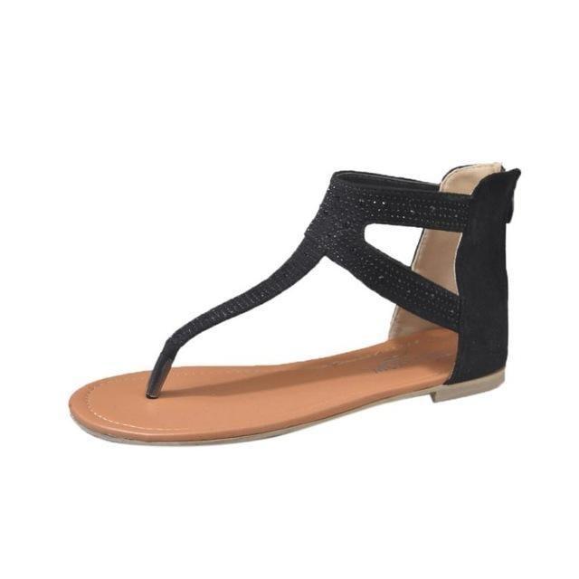 58b10dd6d women Summer sandals Women Diamond Zipper Gladiator Low Flat Flip Flops  Beach Sandals Bohemia Shoes