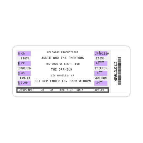 julie and the phantoms. concert ticket. Sticker